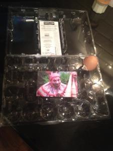 Twisty hiding in the egg carton.