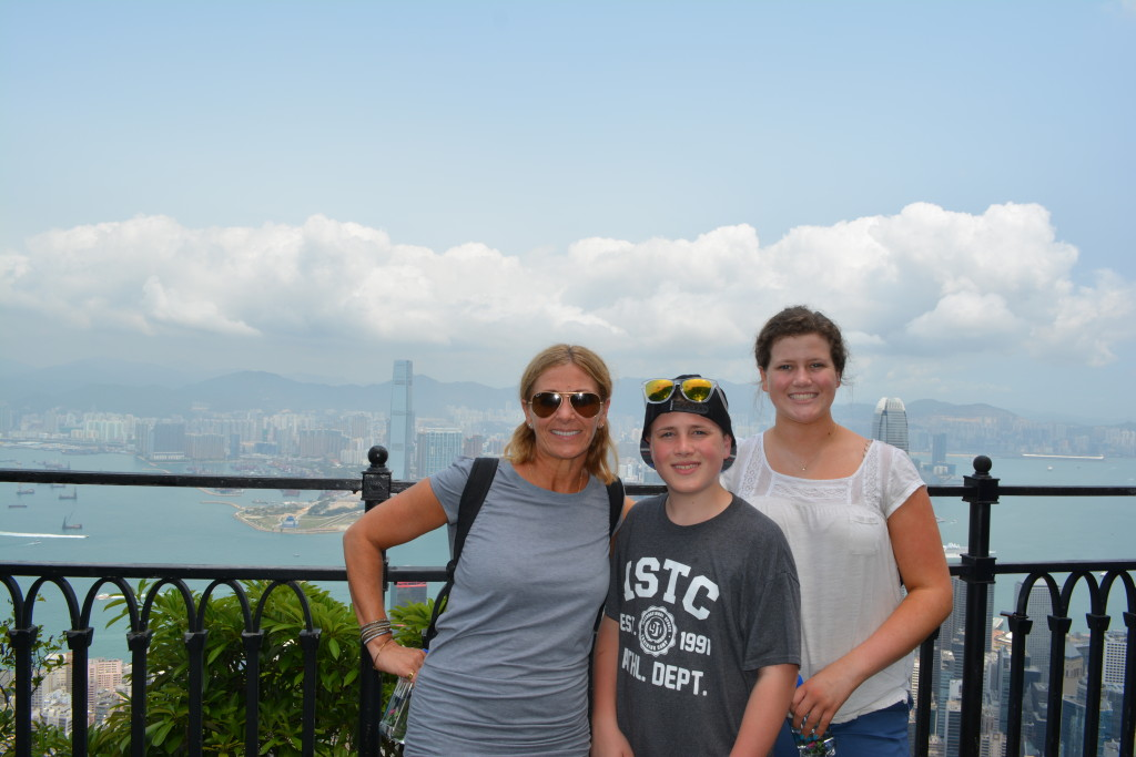 The kids and I at the top of Victoria Peak.