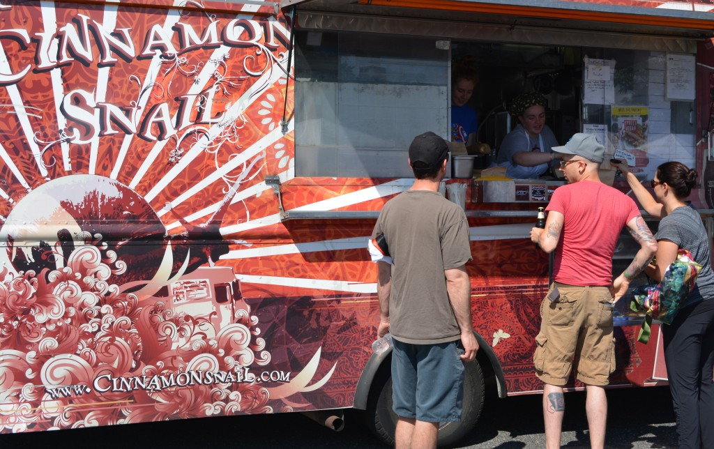 The Cinnamon Snail food truck crawls into the Red Bank Farmer's Market most Sundays. They are pretty good updating their status and weekly menus on their Facebook page. https://www.facebook.com/TheCinnamonSnail?fref=ts